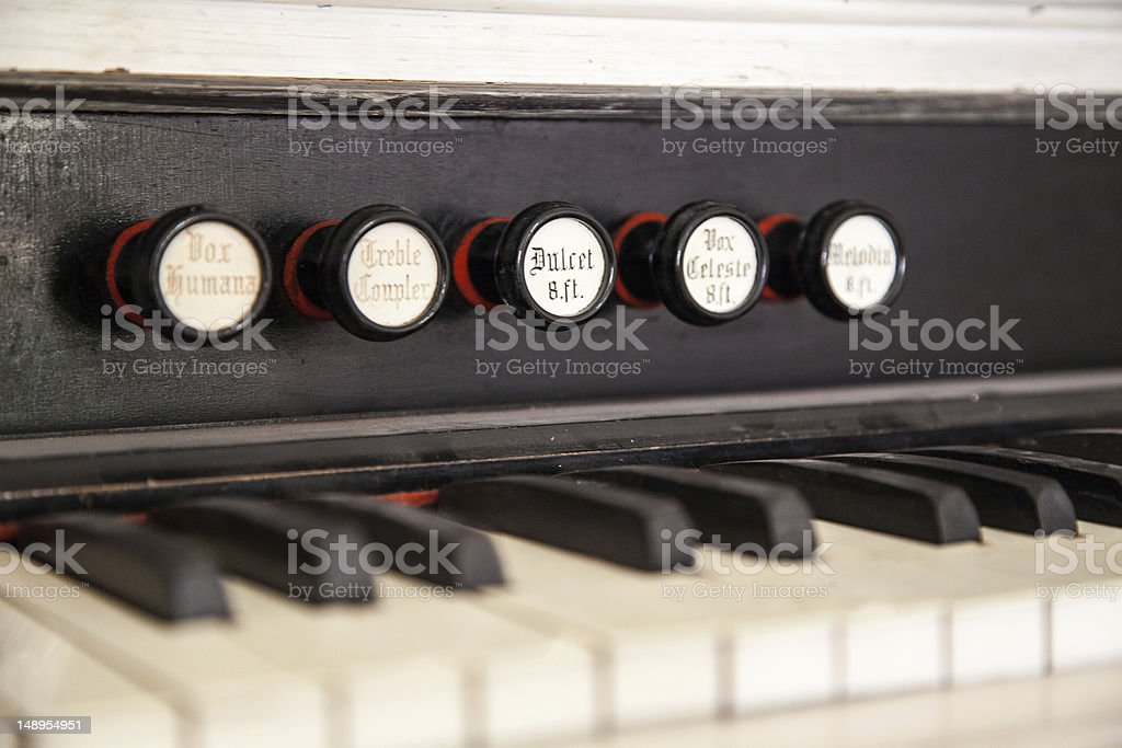 Pump Organ Stops royalty-free stock photo