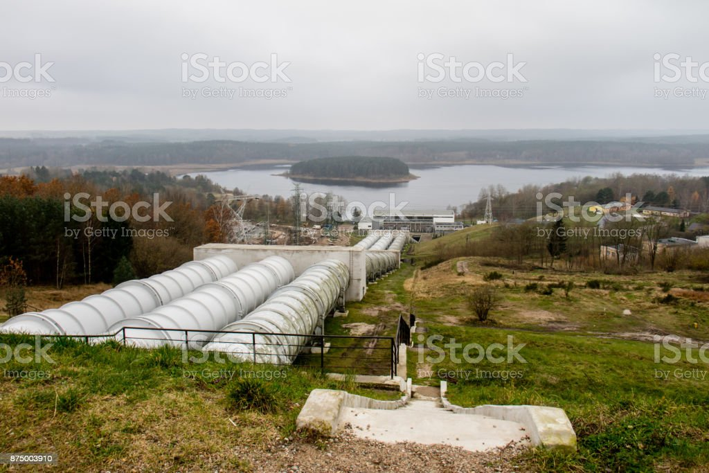 pumped storage power plant. View of the water reservoir. View of the tube in a pumped storage power plant. Autumn season stock photo