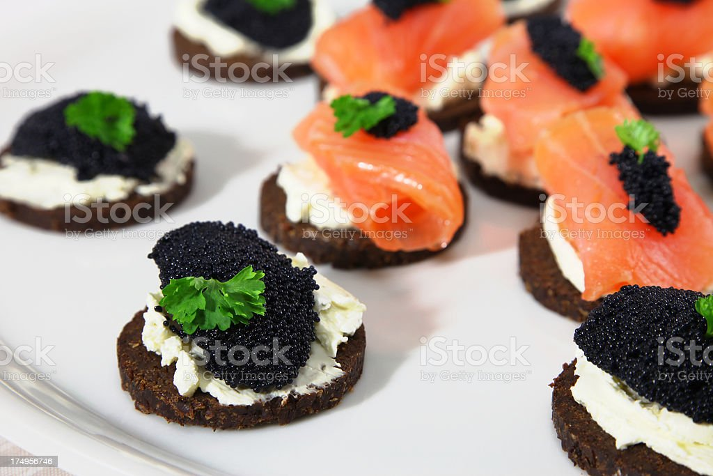 Pumpernickel Canapes royalty-free stock photo