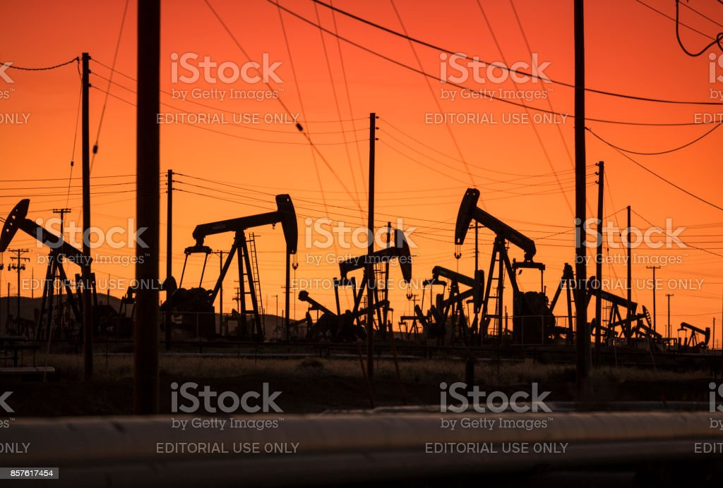 Pumpjack lifts oil from a well in California USA stock photo