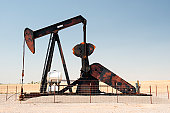 A pumpjack pumps oil from an oil well in central Oklahoma