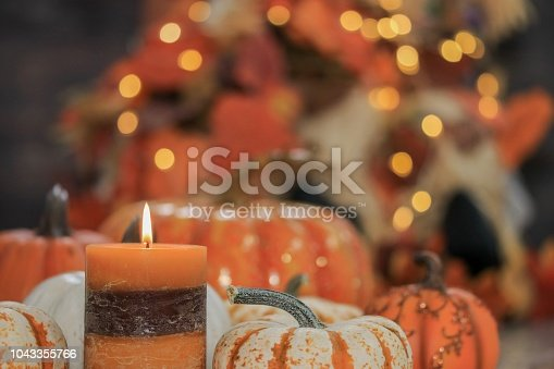 istock Pumpkin and autumn decorations 1043355766