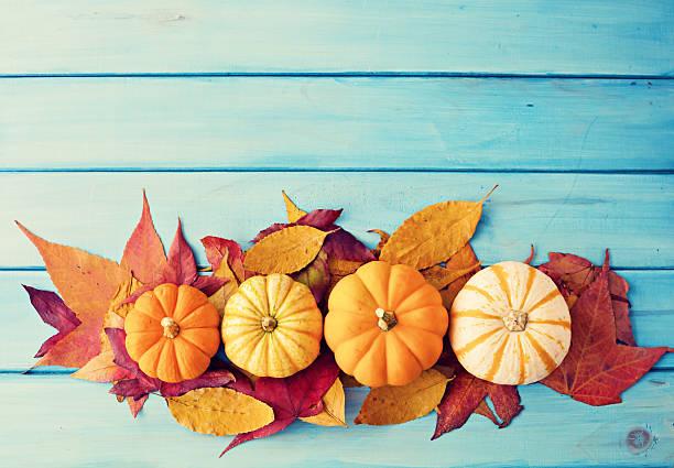 Pumpkin and autumn leafs stock photo