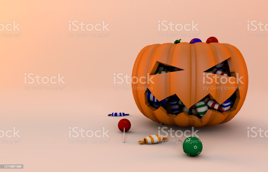Pumpkin and candies 3d Render - Foto stock royalty-free di Autunno