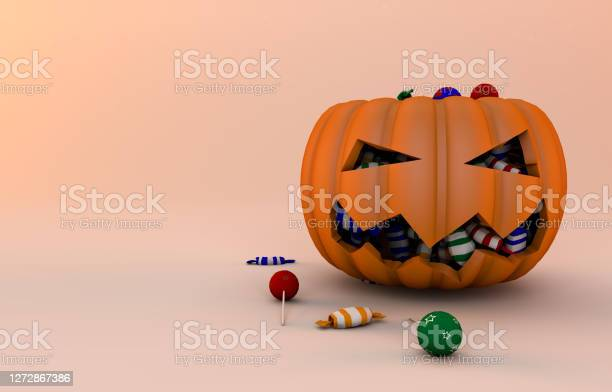 Pumpkin And Candies 3d Render - Fotografie stock e altre immagini di Autunno