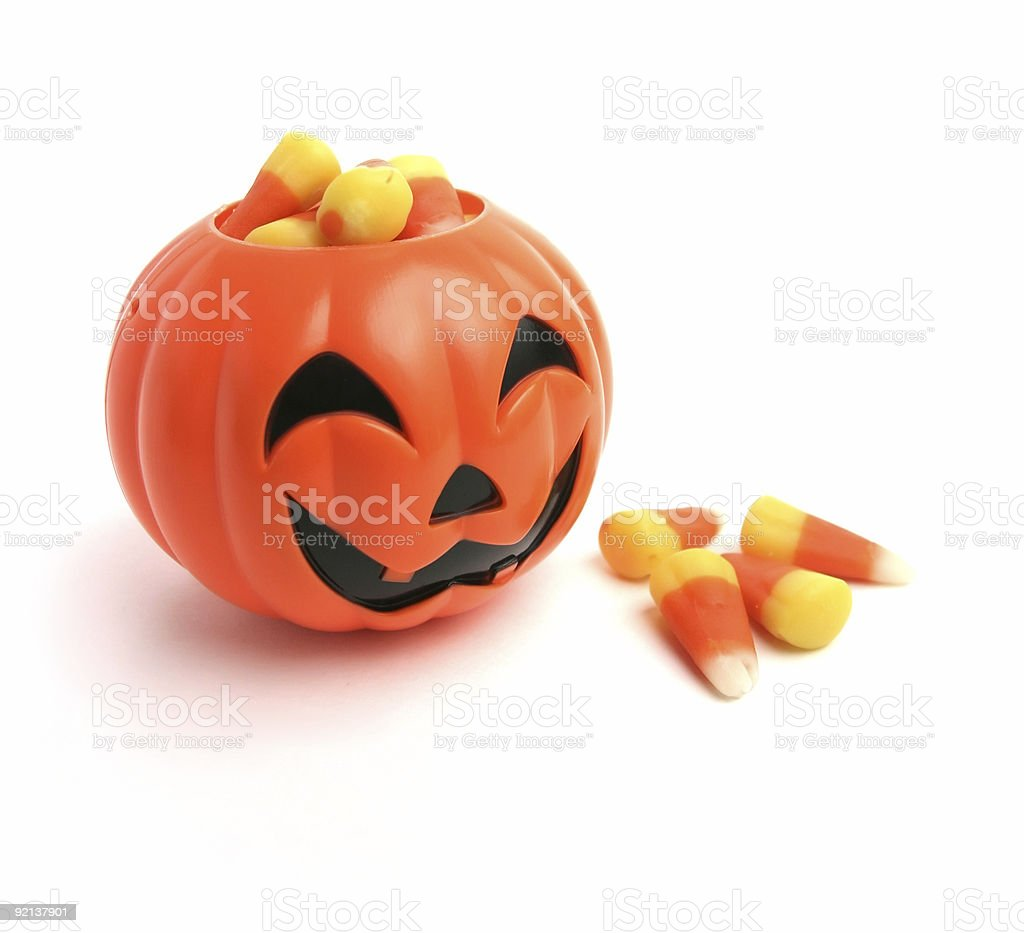 Pumpkin And Candy Corn stock photo