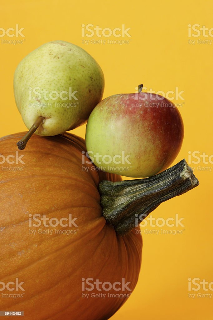 pumpkin, apple and pear royalty-free stock photo