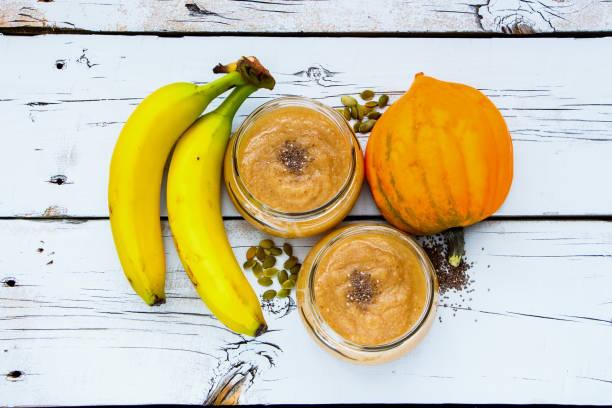 Pumpkin banana smoothie stock photo