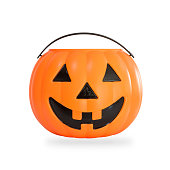 Pumpkin basket isolated on white background (clipping path) for kid collecting candy Jack o'lantern basket , trick or treat on Halloween day celebration