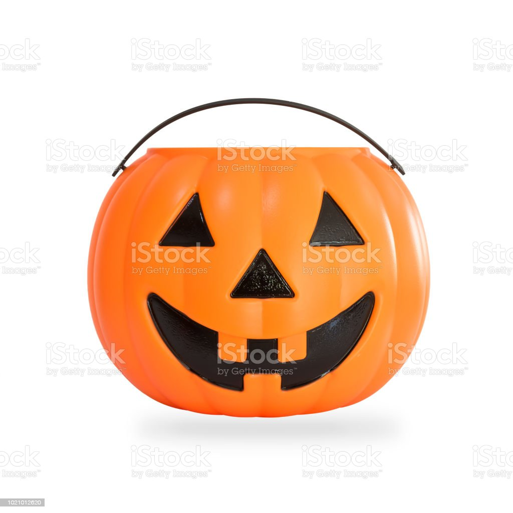 Pumpkin basket isolated on white background (clipping path) for kid collecting candy Jack o'lantern basket , trick or treat on Halloween day celebration stock photo