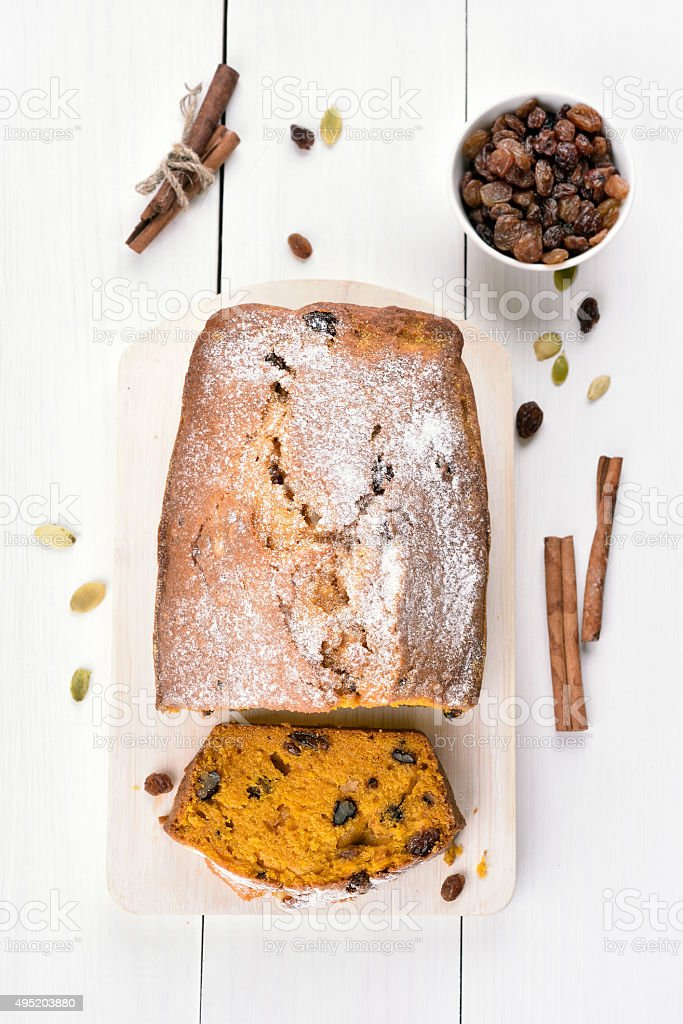 Pumpkin bread and ingredients stock photo