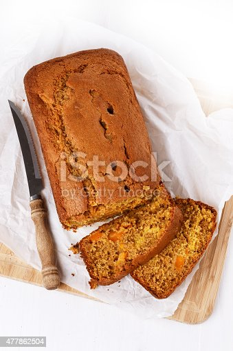 istock Pumpkin bread loaf over white wooden background 477862504