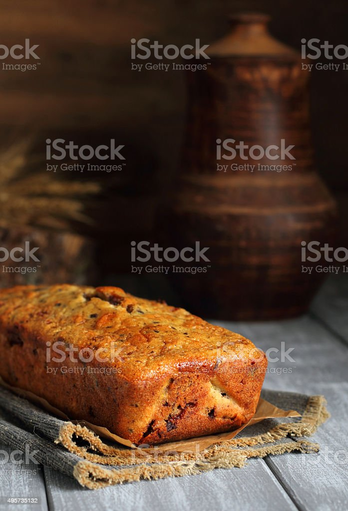 pumpkin cake with chocolate on the gray boards stock photo