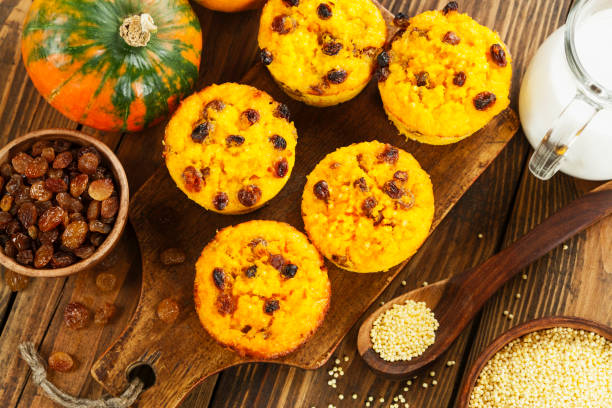 Pumpkin cake with  millet stock photo