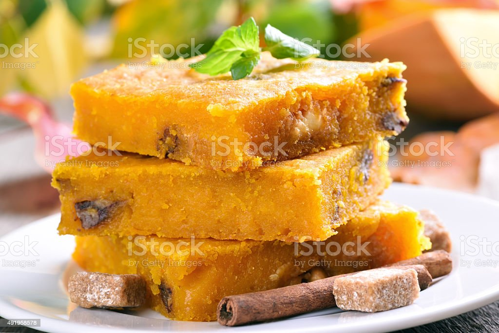 Pumpkin cake with nuts stock photo