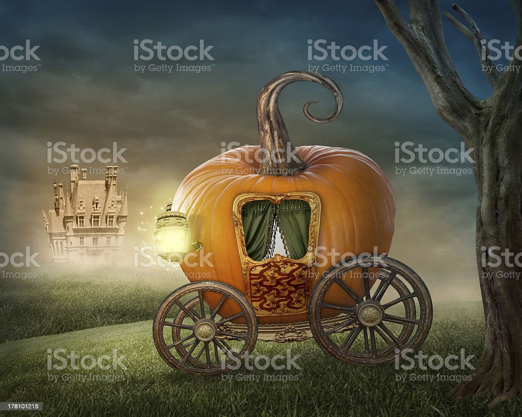 Pumpkin carriage stock photo