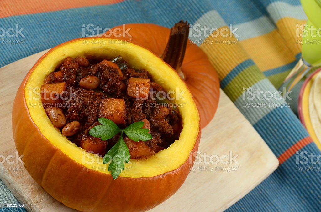 Pumpkin Chili with Pinto Beans and Ground Beef stock photo
