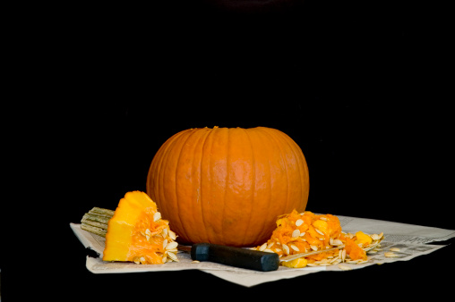 Pumpkin Cleaning Stock Photo - Download Image Now