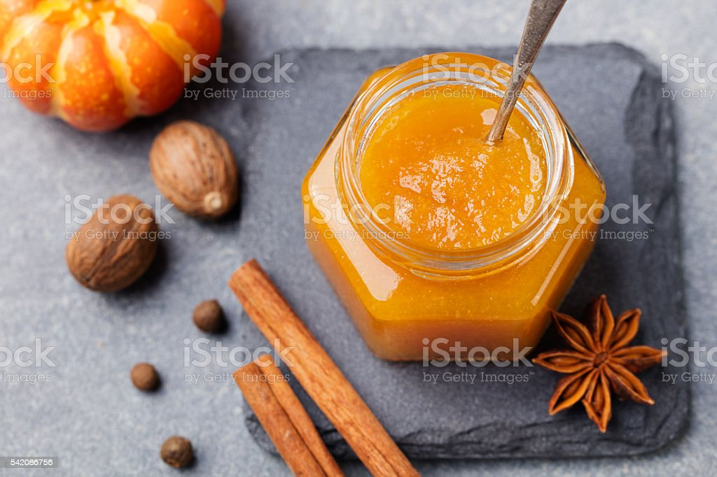 Pumpkin confiture, jam, sauce with spices Top view stock photo