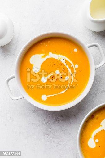 Pumpkin Creamy Soup Decorated With Fresh Cream - Stockowe zdjęcia i więcej obrazów Bez ludzi