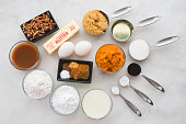 Measured ingredients to make cupcakes
