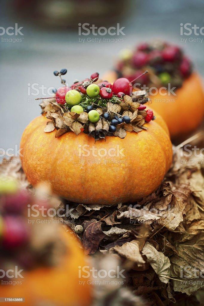 Pumpkin decorations stock photo