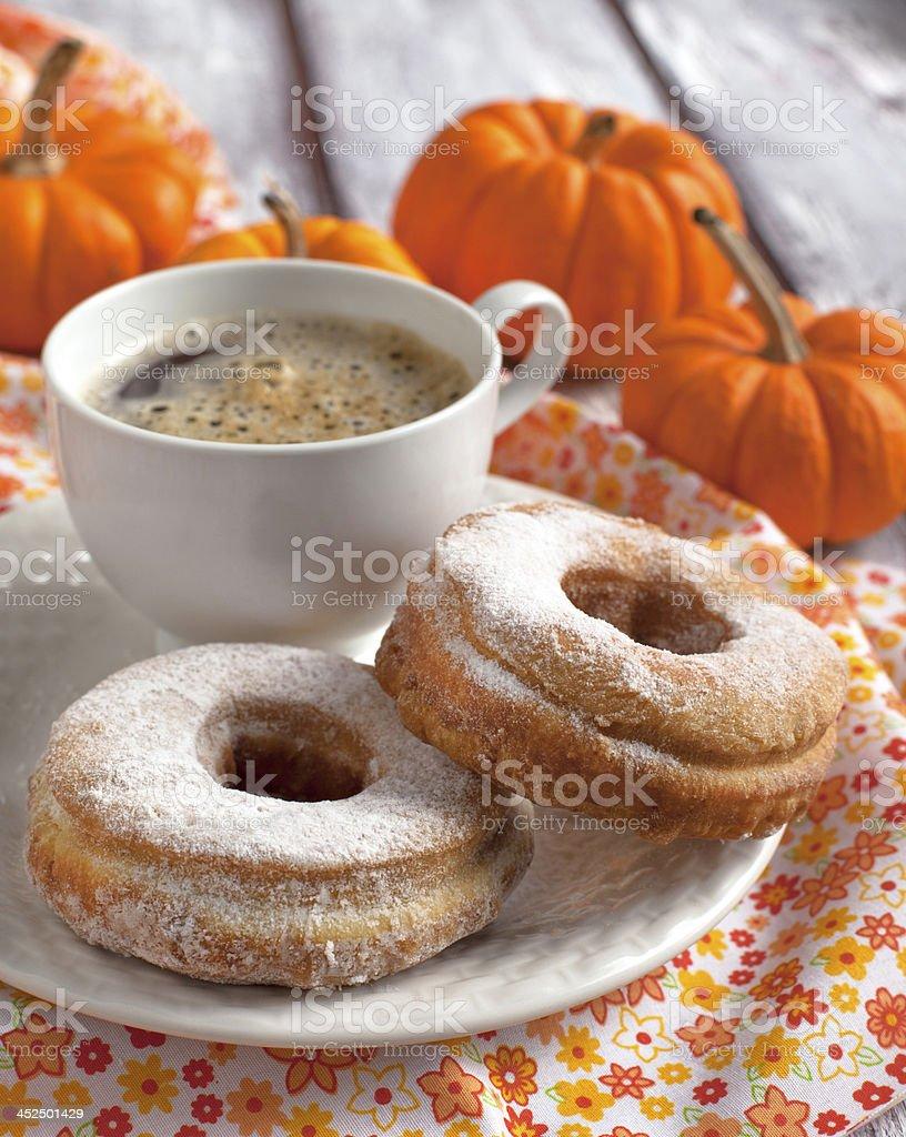 Pumpkin donuts stock photo