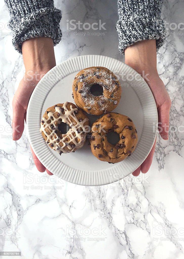 Pumpkin Doughnuts stock photo