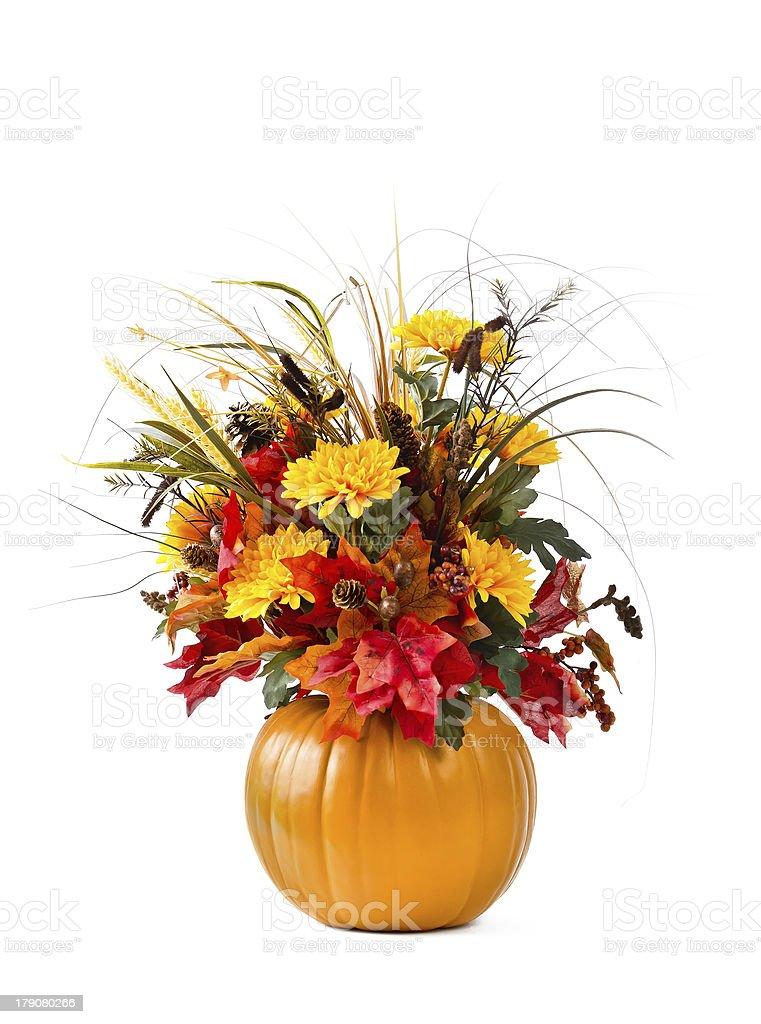 Pumpkin flower arrangement stock photo