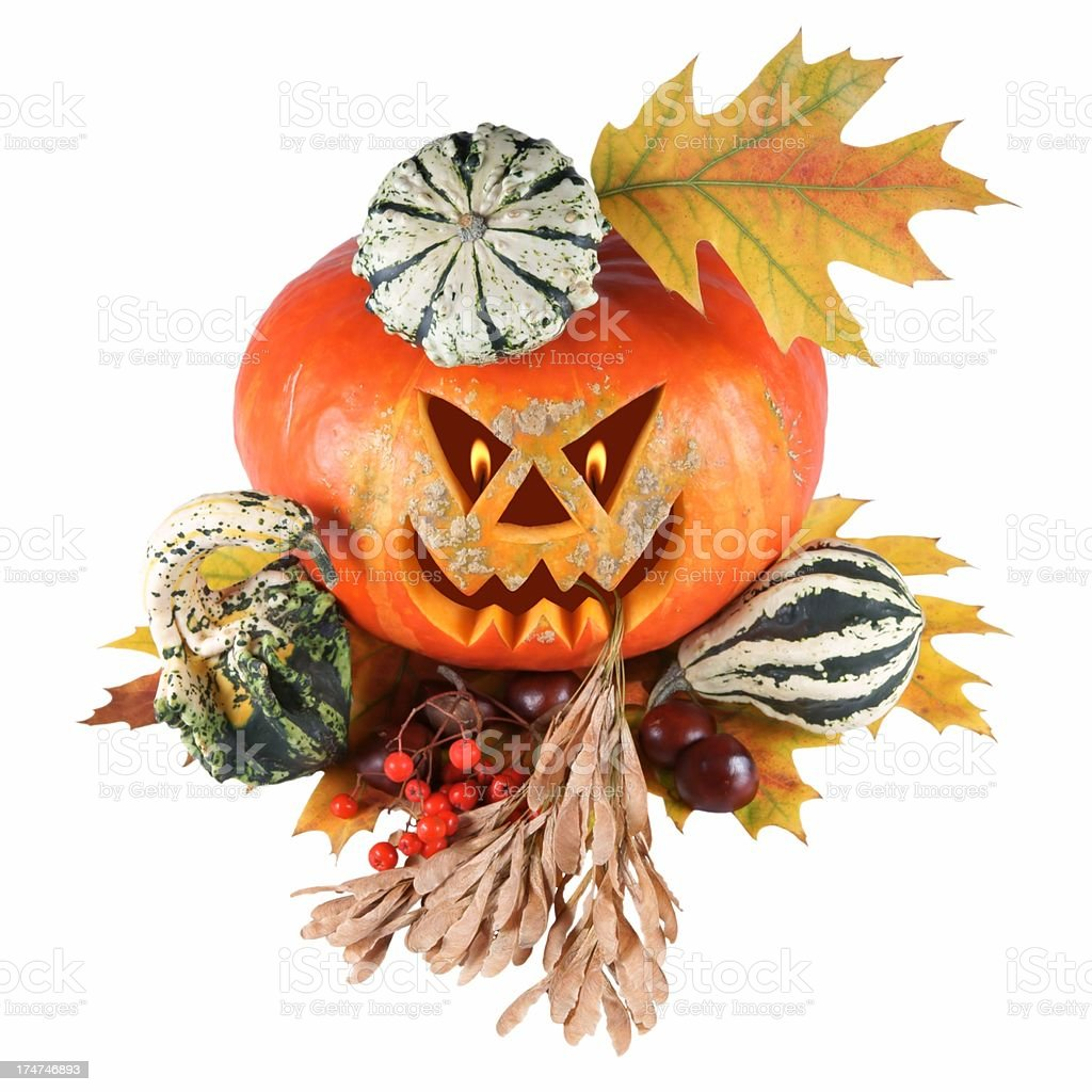 Pumpkin, halloween, old jack-o-lantern on white background royalty-free stock photo