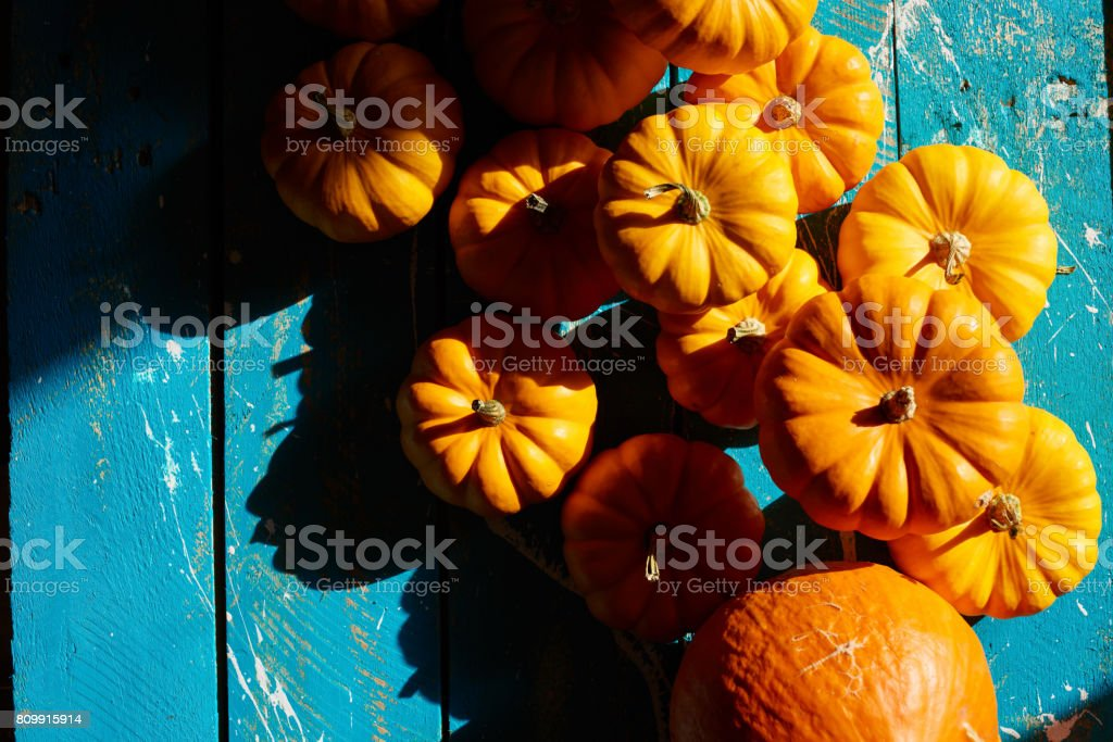 Pumpkin harvest on wooden table stock photo