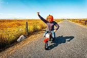 Pumpkin Helmet Motorcycle Racer