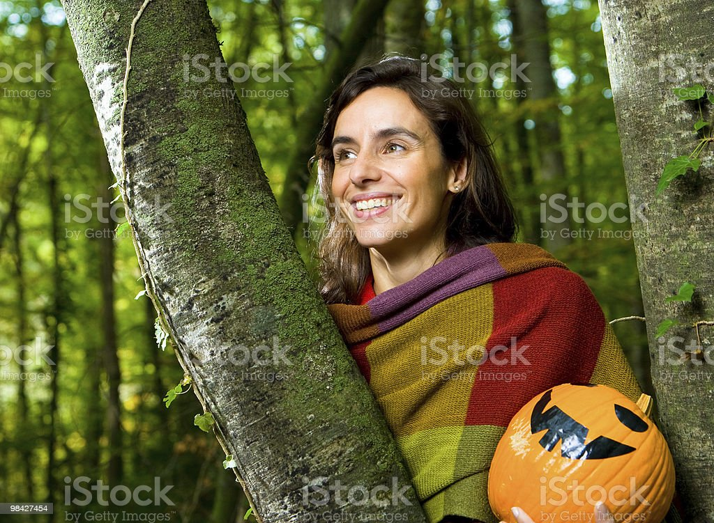 Pumpkin in the Forest royalty-free stock photo