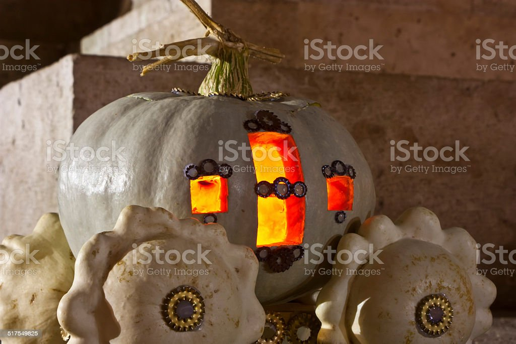 Pumpkin lamp stock photo