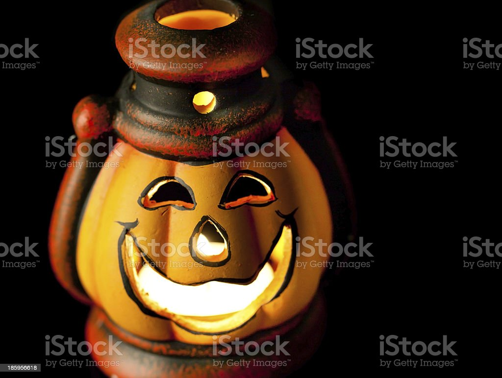 Pumpkin lantern with candle stock photo