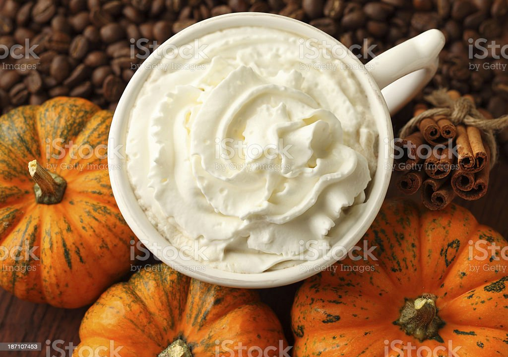 Pumpkin Latte, Coffee Beans and Pumpkins royalty-free stock photo