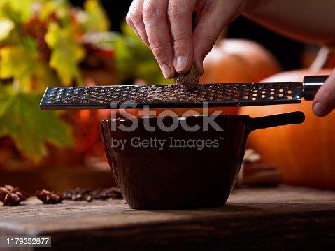 Preparing homemade pumpkin spice latte