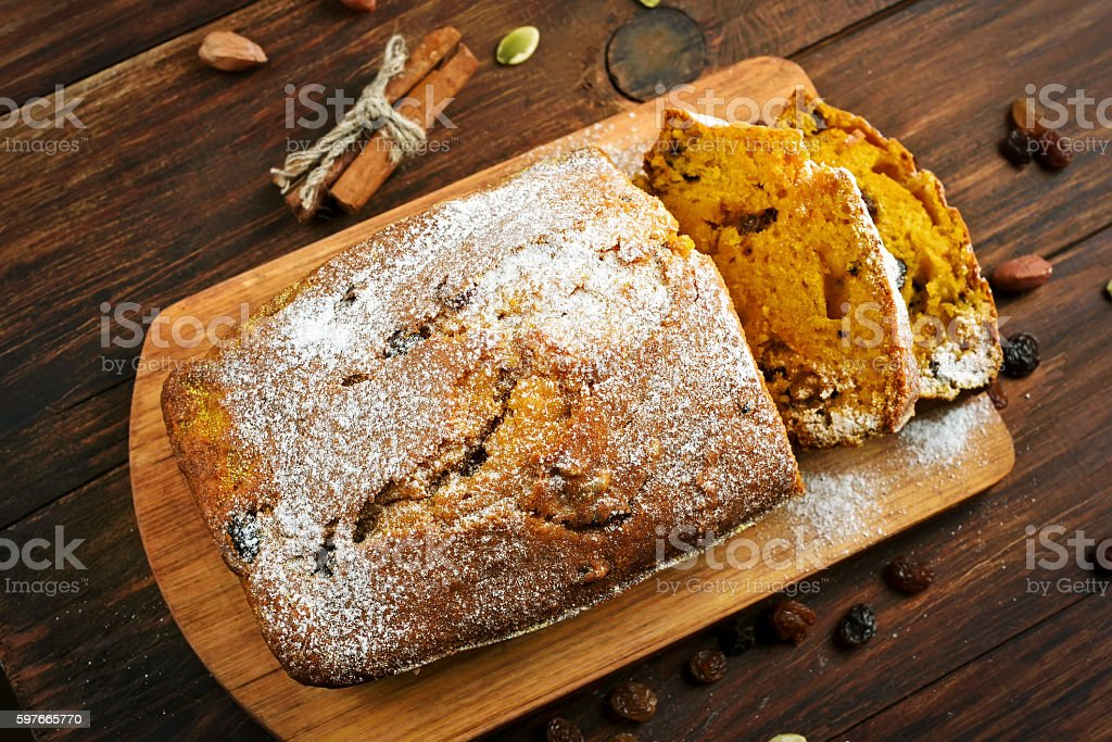 Pumpkin loaf, top view stock photo