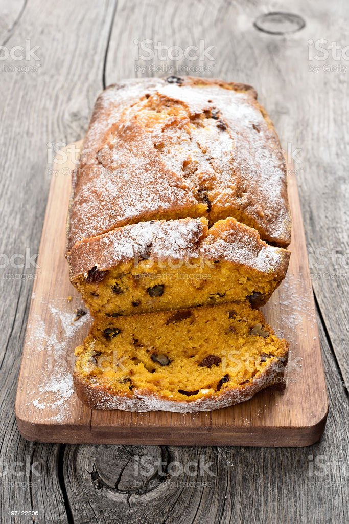 Pumpkin loaf with nuts and raisin stock photo