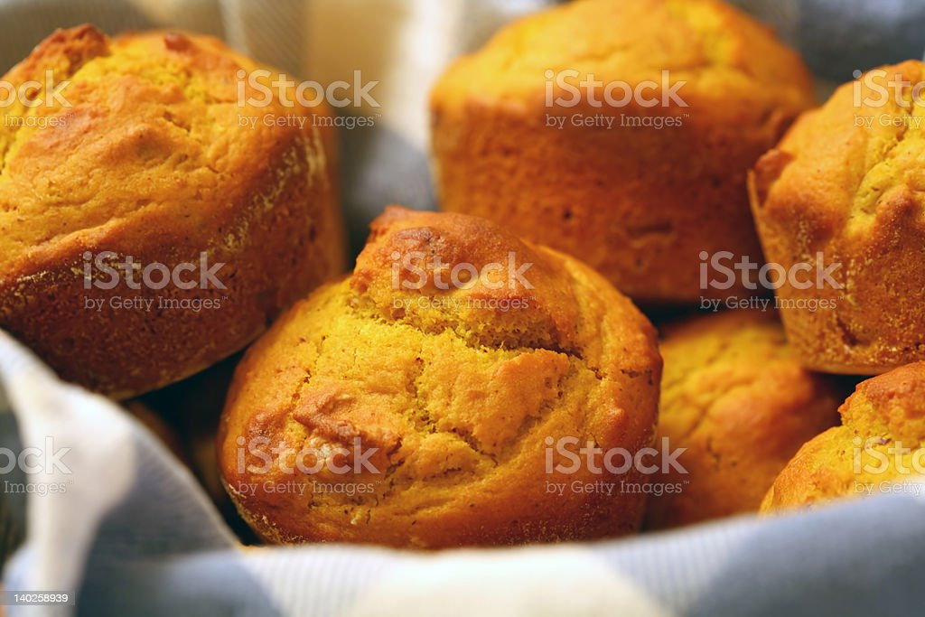 Pumpkin Muffins in a Basket royalty-free stock photo