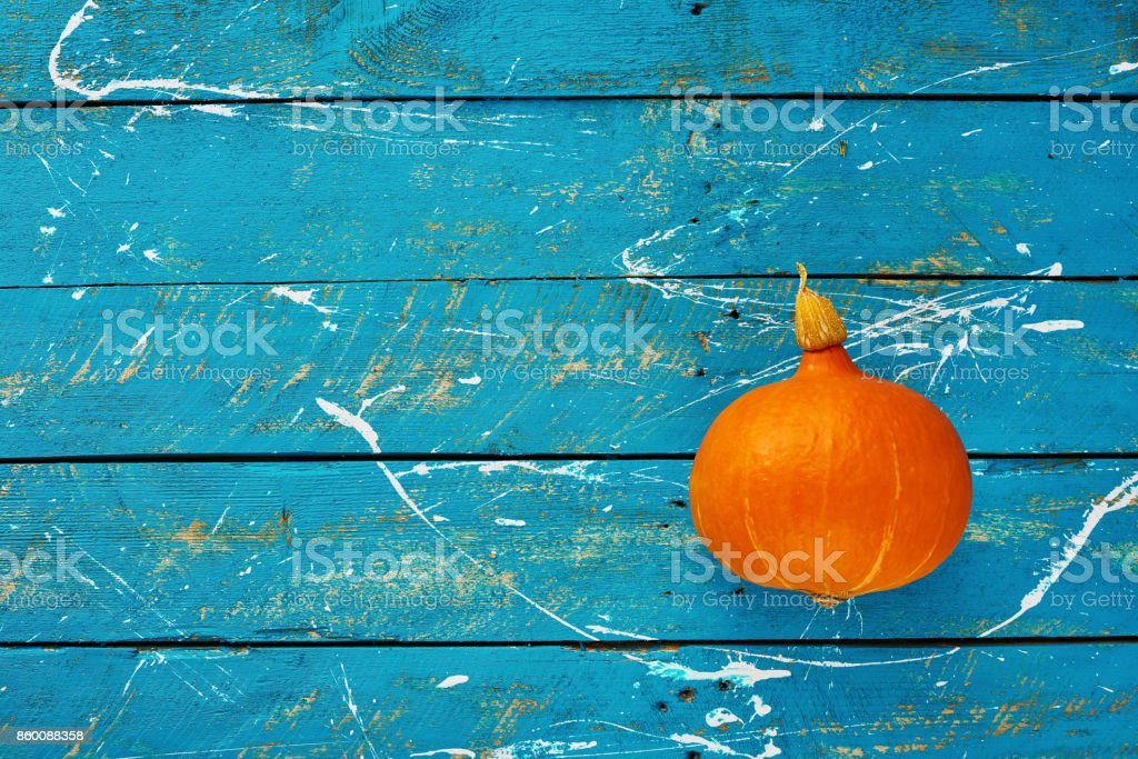 Pumpkin on blue stock photo