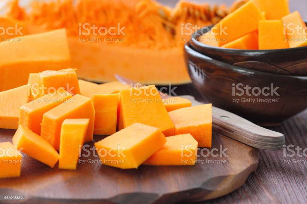 Pumpkin on the wooden table foto stock royalty-free