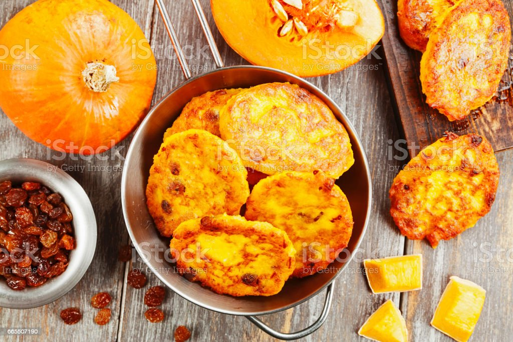 Pumpkin pancakes with curd stock photo