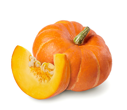 Whole pumpkin and slice cut out.
