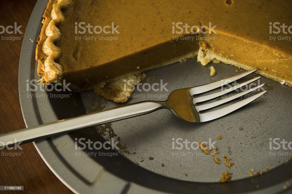 Pumpkin Pie And Fork royalty-free stock photo
