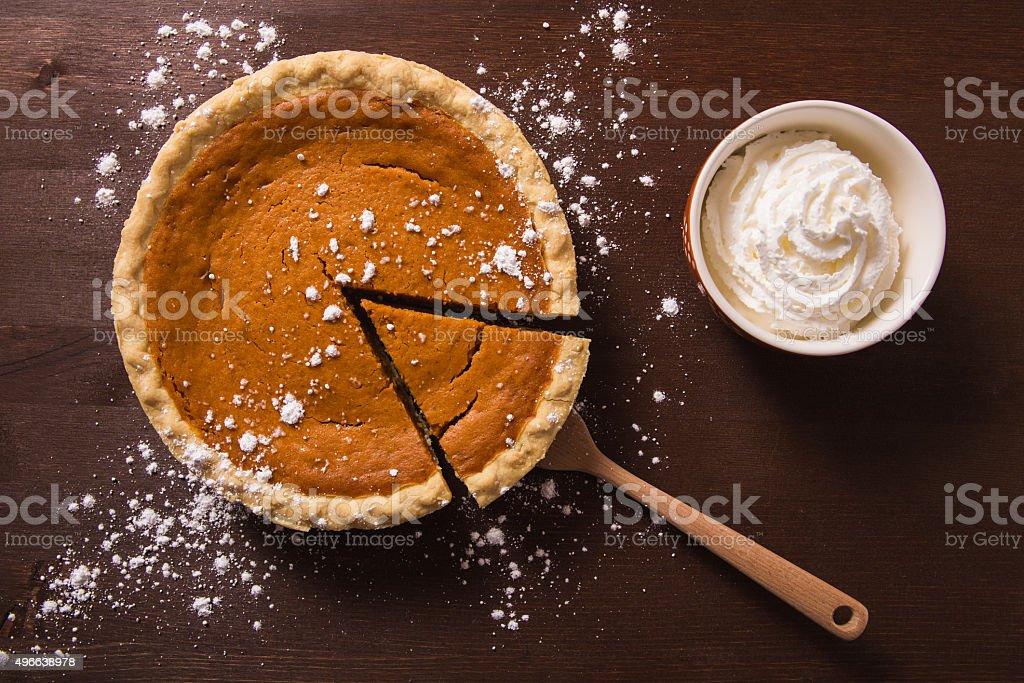 Pumpkin Pie and Whipped Cream stock photo