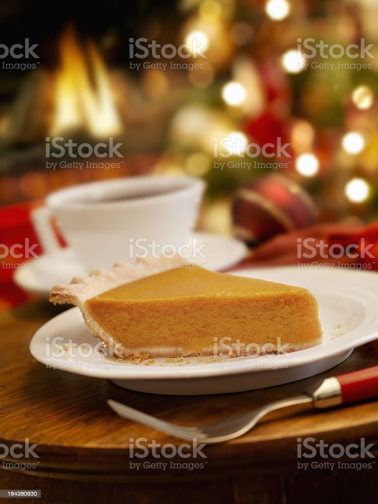 Pumpkin Pie at Christmas Time royalty-free stock photo