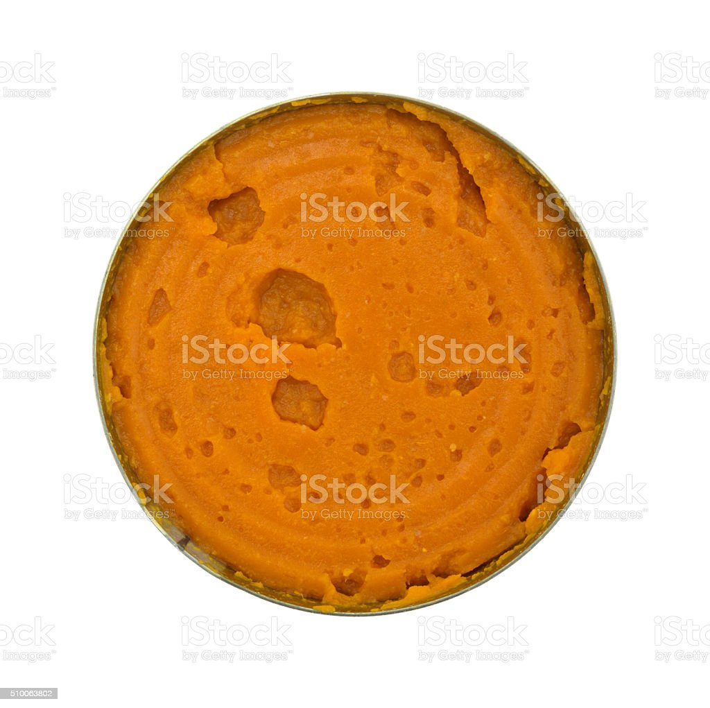 Pumpkin pie filling in an opened can stock photo