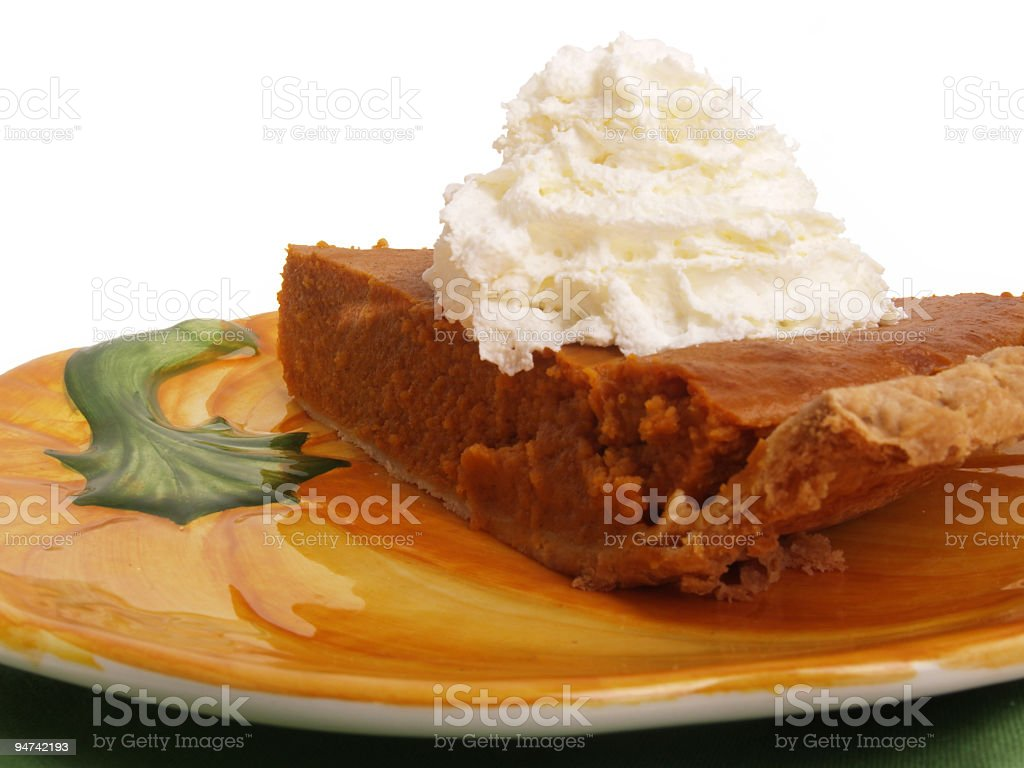 Pumpkin Pie on a Festive Plate royalty-free stock photo