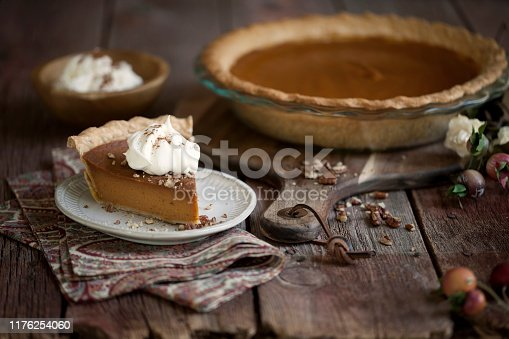 Holiday Thanksgiving slice of pumpkin pie with whipped topping